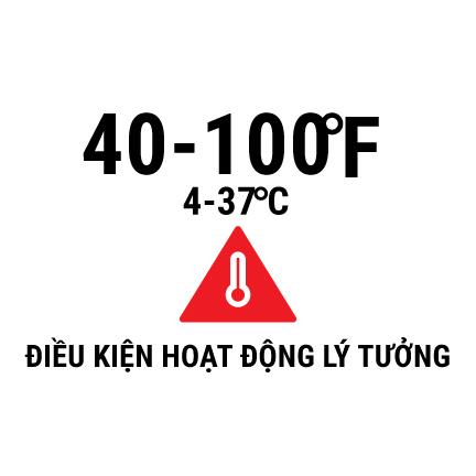40-100 degrees F (4-37 degrees C) ideal operating temperature