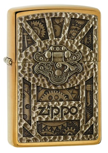 Zippo Brushed Brass Emblem Attached