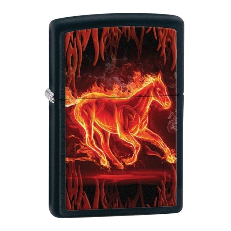 Black Matte Horse Flaming