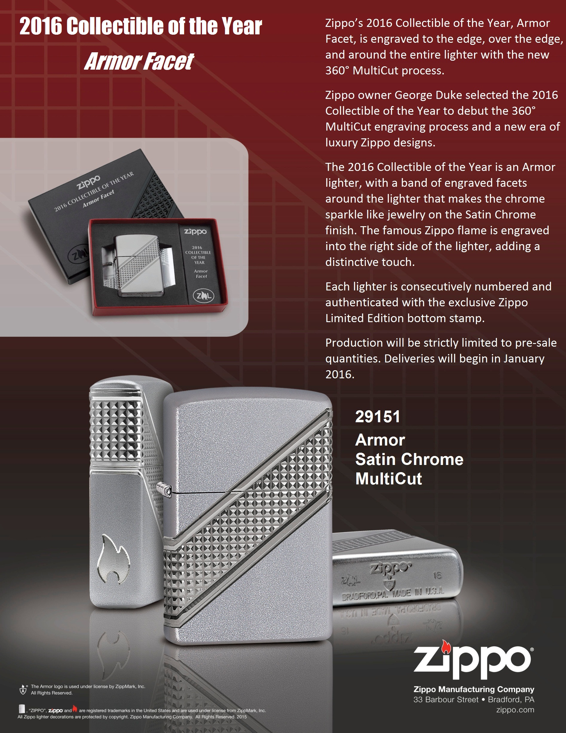 ZIPPO COTY 2016 – 2016 COLLECTIBLE OF THE YEAR – ARMOR™ FACET