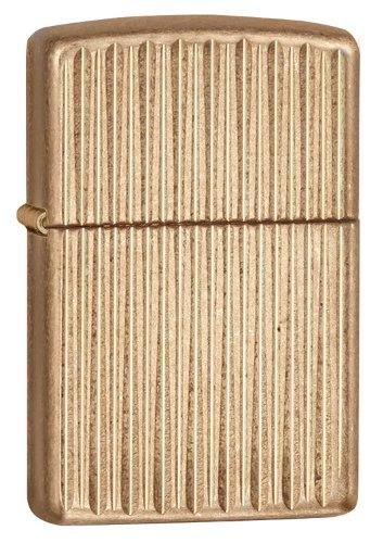Zippo Armor Vertical Lines Lighter, Tumbled Brass