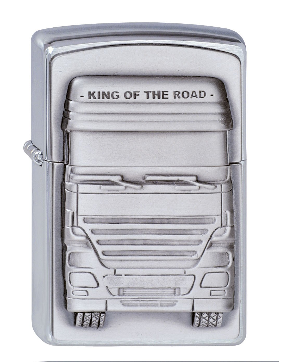 ZIPPO Truckers King of the Road Emblem Windproof Pocket Lighter – Chrome,
