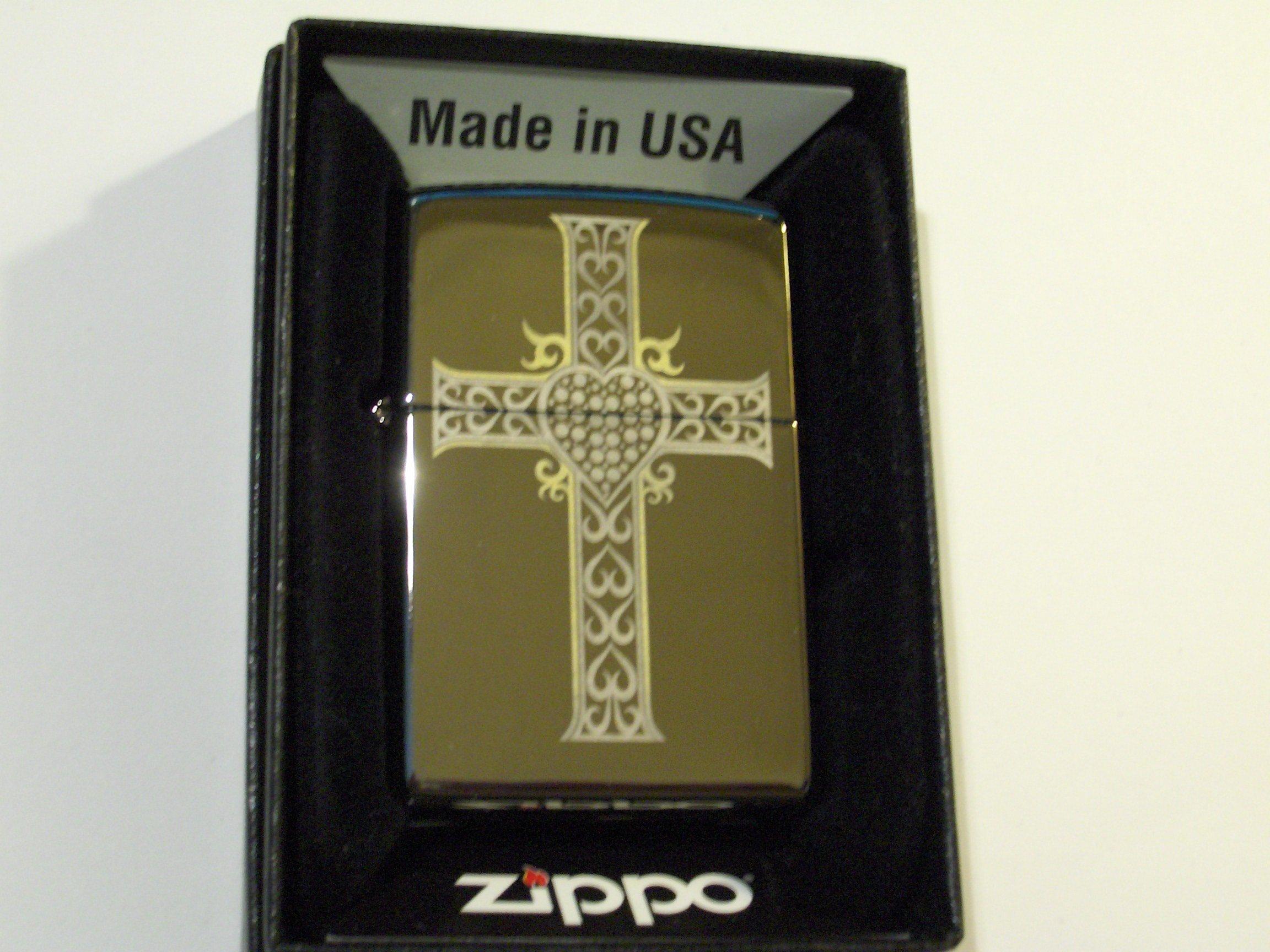 Zippo Lighter – Jewelry Heart & Cross Black Ice