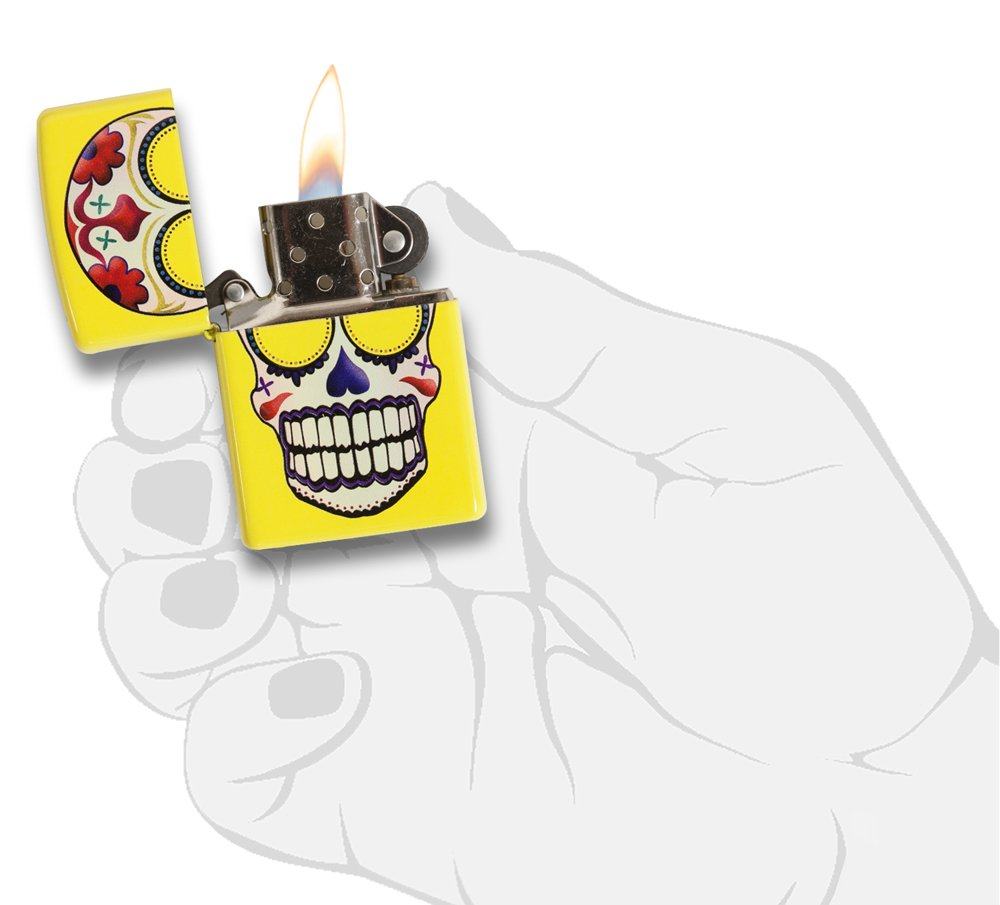 Skull Day of the Dead Yellow Matte