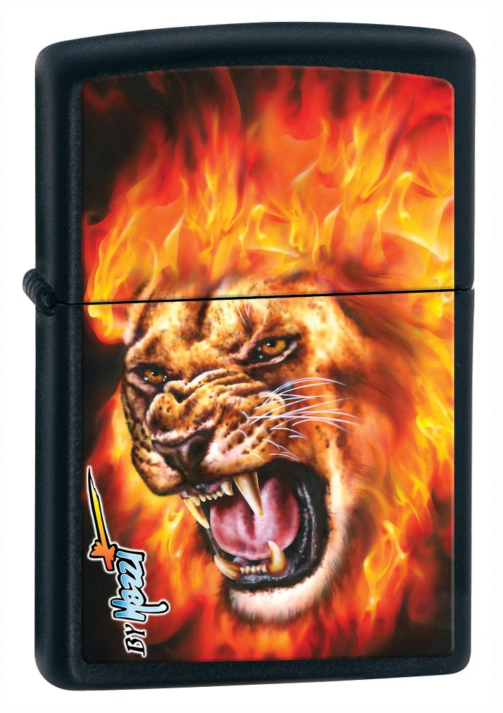 Zippo Mazzi-Flame Lion Black Matte Lighter