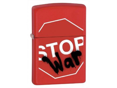 Zippo Red Matte Stop War Lighter