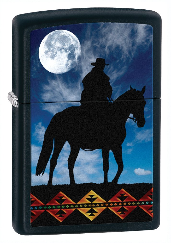 Zippo Black Matte Cowboy Moon Lighter