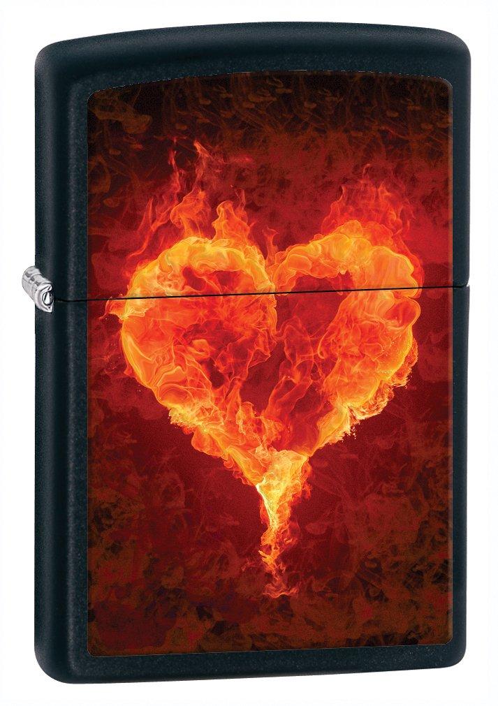 Zippo Black Matte Burning Heart Lighter