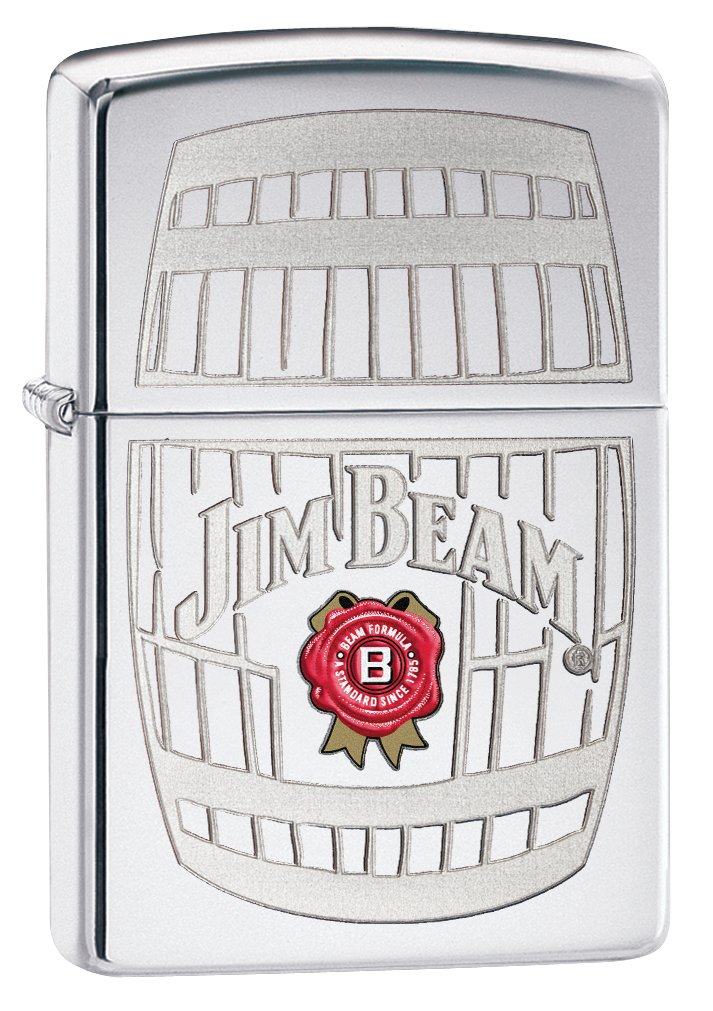 Zippo Jim Beam High Polish Chrome Lighters.