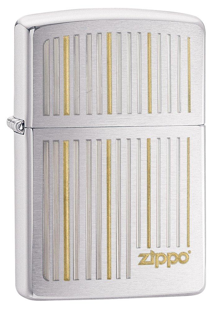 Zippo Lines Brushed Chrome