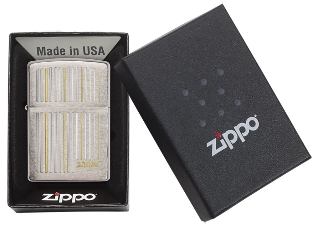 Zippo Lines Brushed Chrome