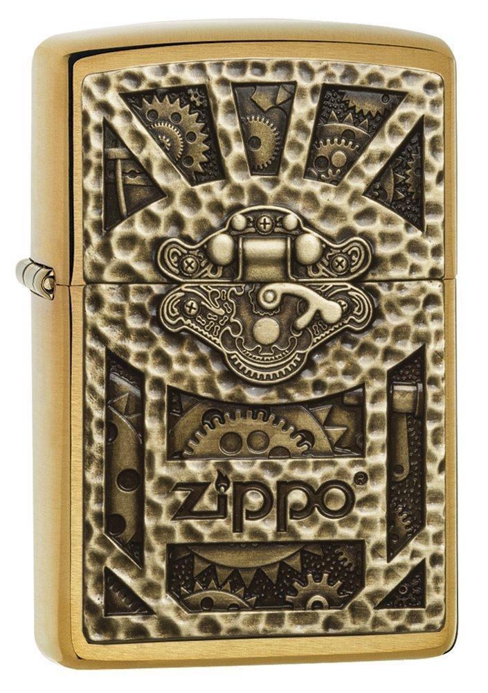 Zippo Brushed Brass Emblem Attached