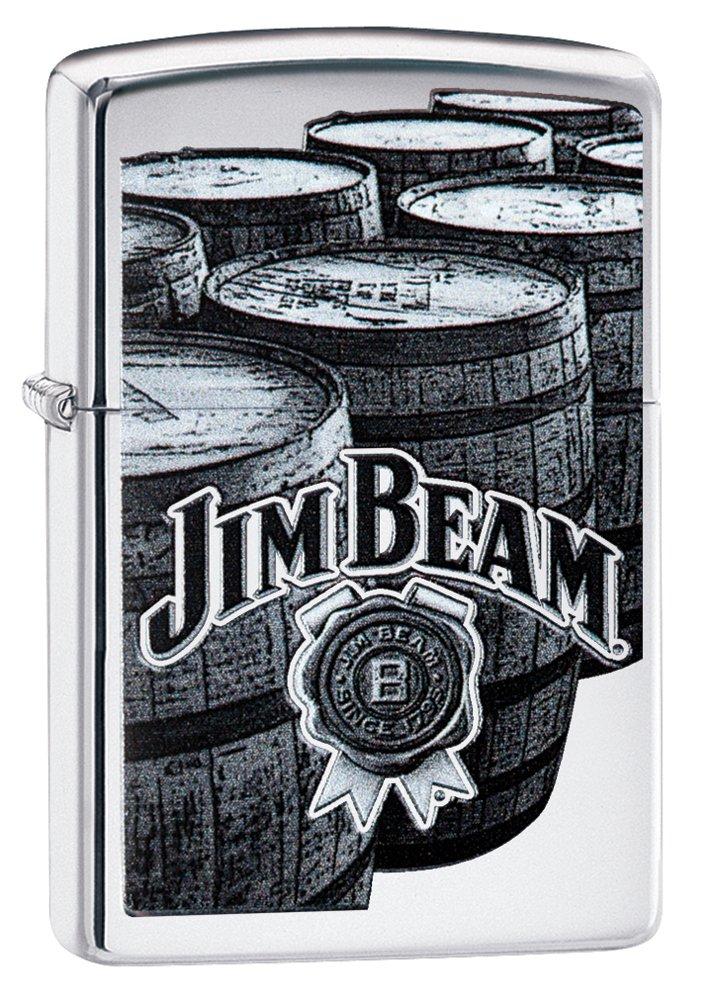 Zippo Jim Beam Barrels Pocket Lighter, High Polish Chrome Barrels