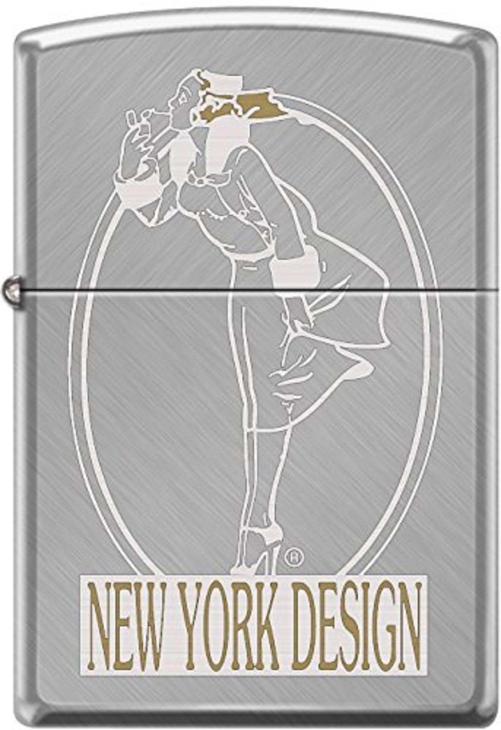Zippo Windy Girl New York Design Herringbone Sweep WindProof Lighter New Rare