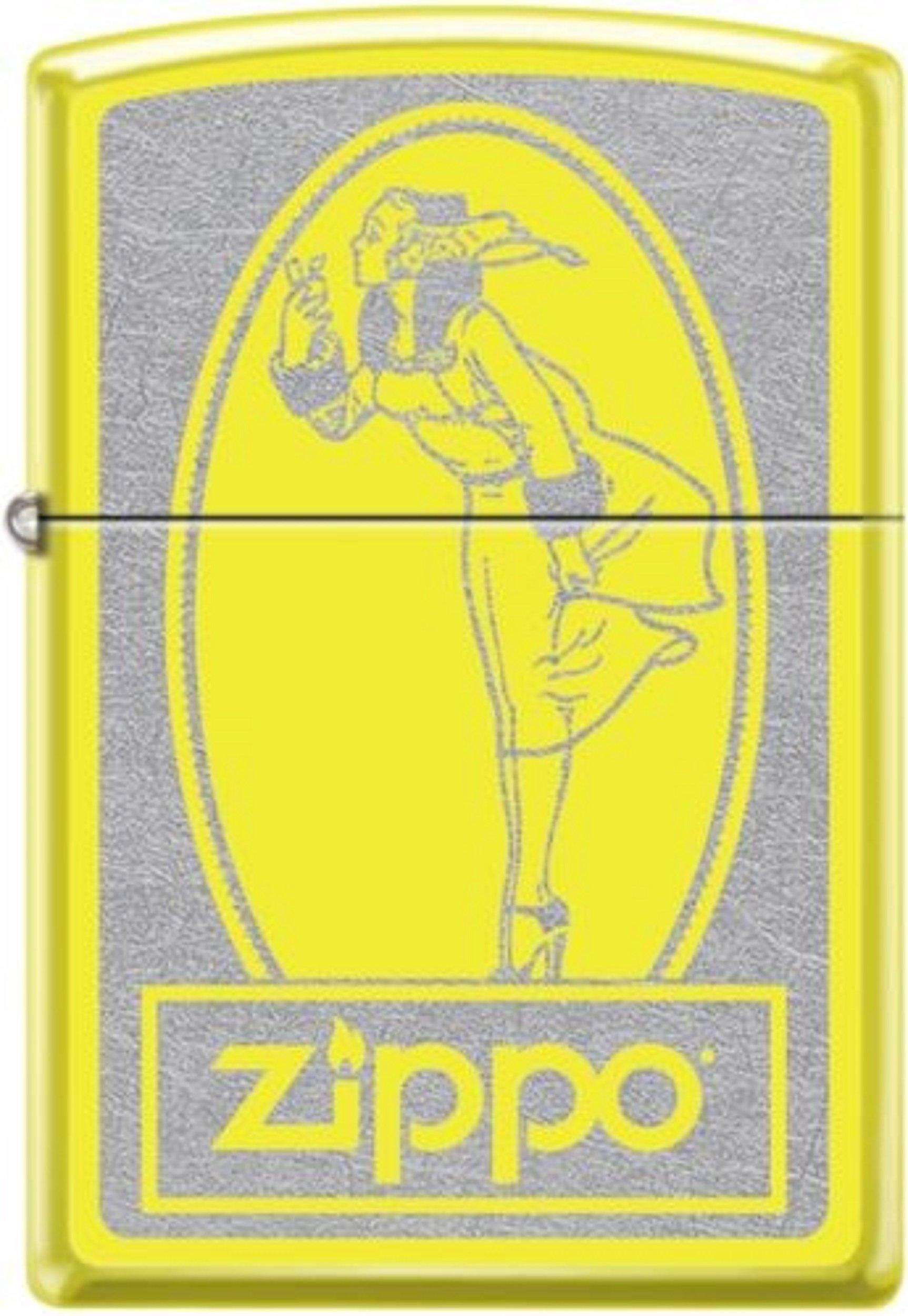 Zippo Windy Poster Yellow Orange Windproof Pocket Lighter NEW
