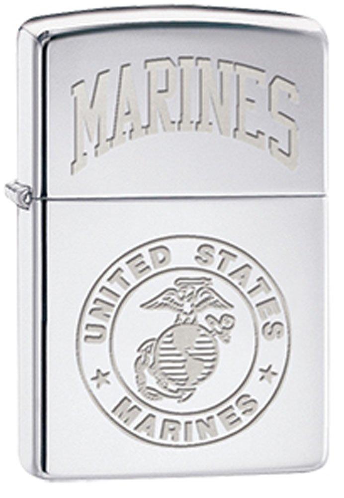 US Marine EGA Globe & Anchor Insignia Chrome Zippo Lighter