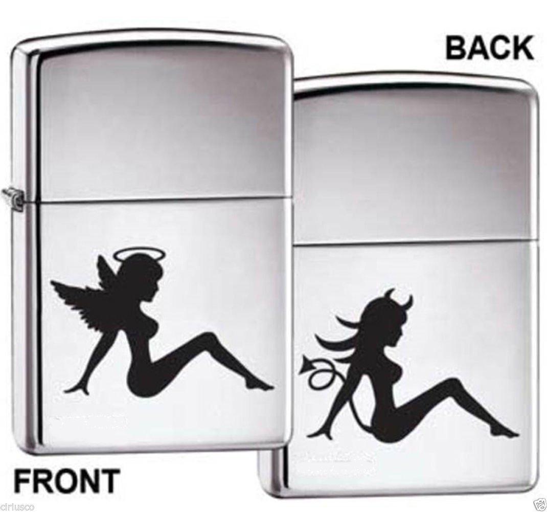 Good Girl Angel and Bad Girl Devil Chrome Zippo Lighter