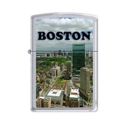 Zippo AD204 Classic Boston City Skyline Satin Chrome Windproof Lighter