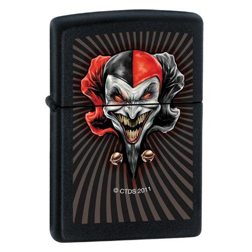 """Zippo """"Red Jester"""" Black Matte Lighter, 7288"""