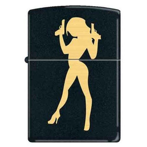 Sexy Lady Big Gun 45s Pinup Black Matte Zippo Lighter