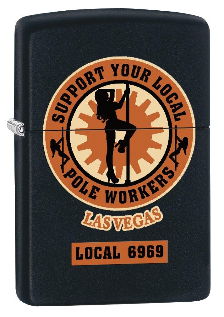 Zippo Lighter: Las Vegas Pole Workers – Black Matte
