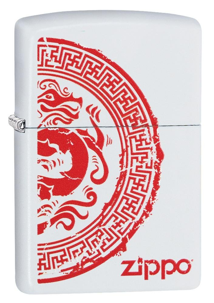 Zippo 28855 Zippo Dragon Stamp on White Matte Finish Lighter
