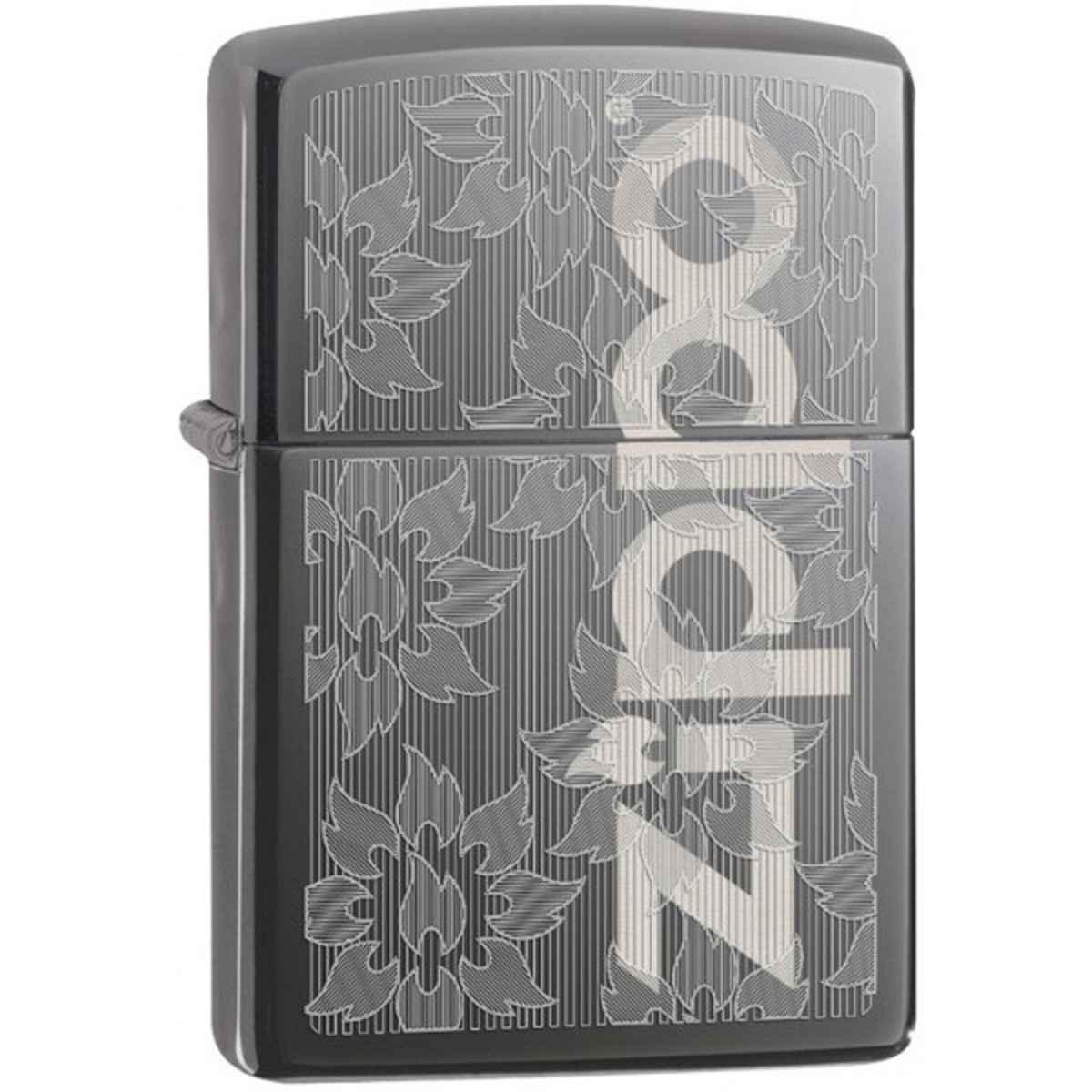 Zippo Black Ice Engraved Zippo Logo Lighter 29241