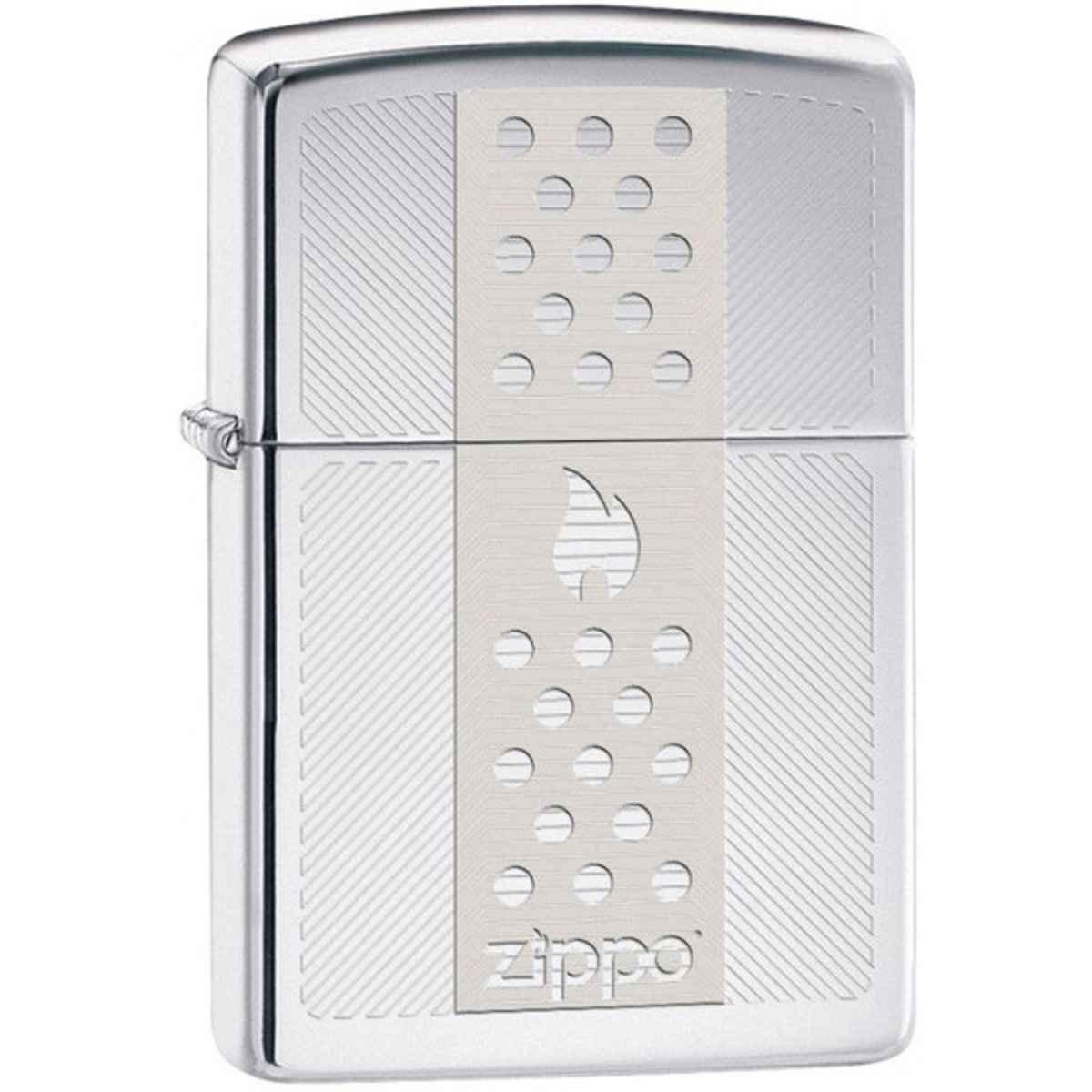 Zippo High Polish Chrome Engraved Zippo Logo Lighter 29242
