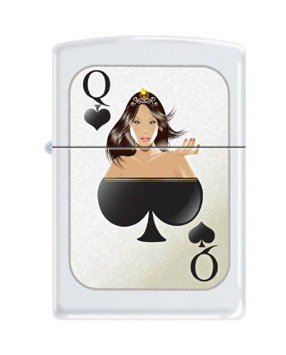 Zippo Lighter – Queen of Spades White Matte