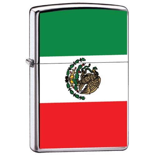 Zippo Custom Lighter Mexico Flag High Polish Chrome Finish