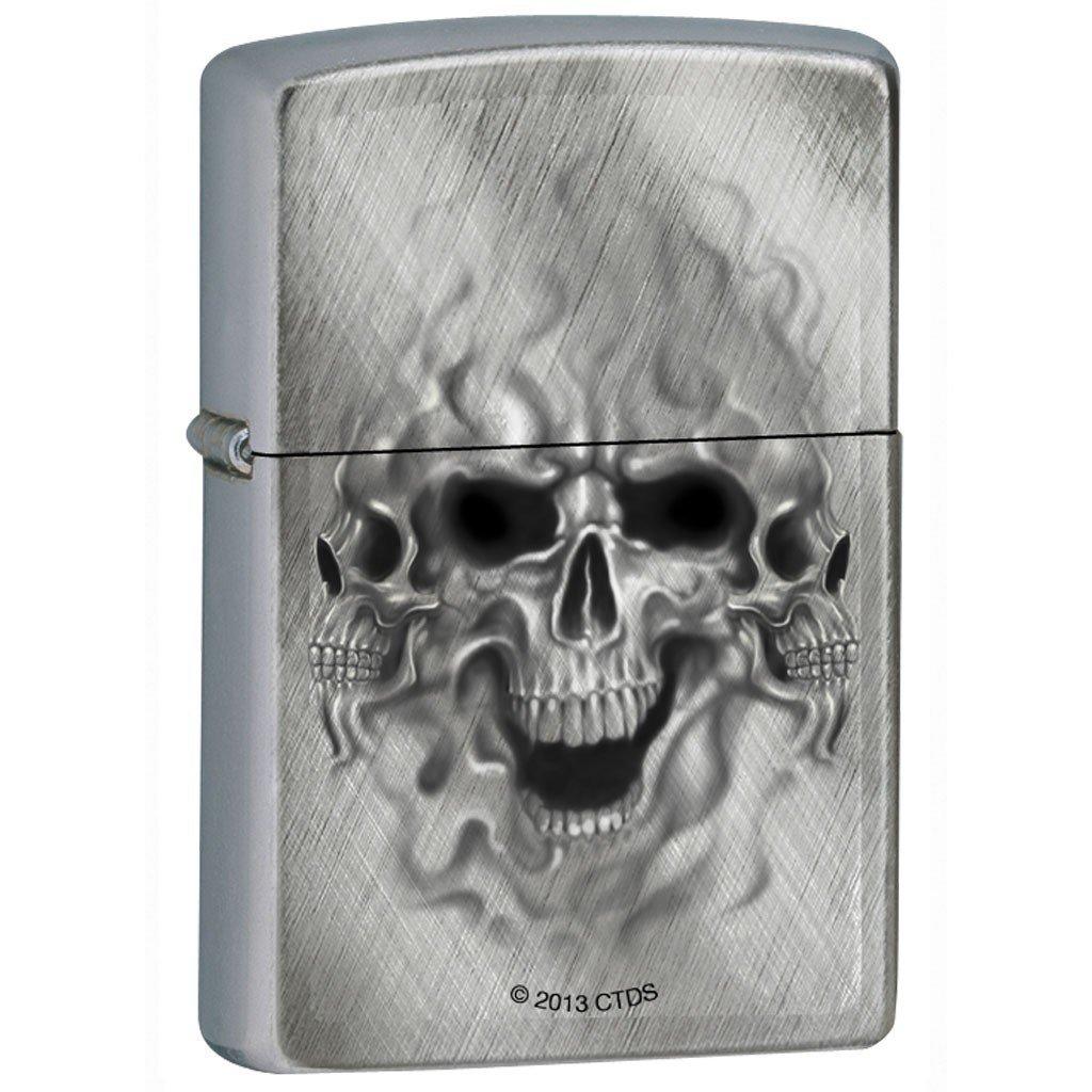 Zippo Lighter – Ghost Skulls Diagonal Weave