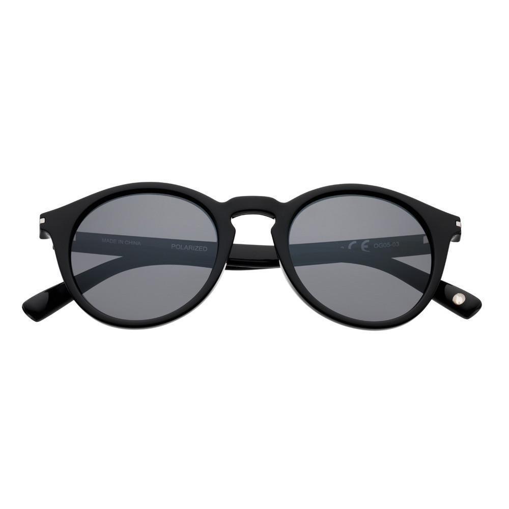 Black Polarized Round Sunglasses