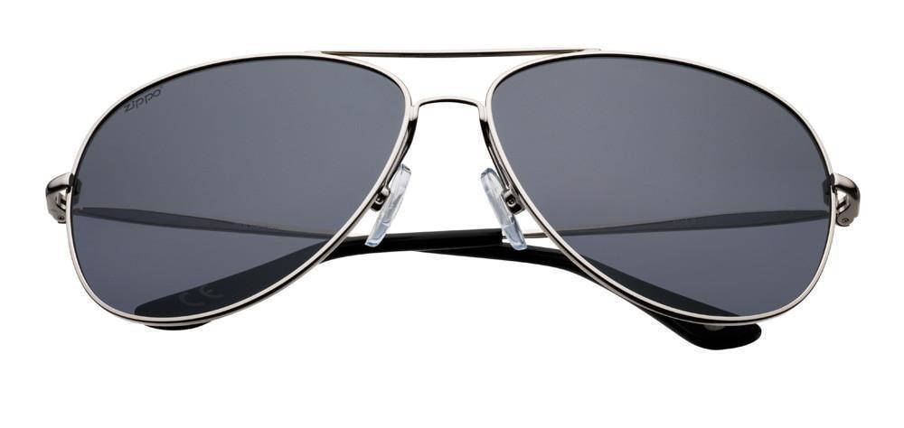 Silver Polarized Oval Pilot Sunglasses