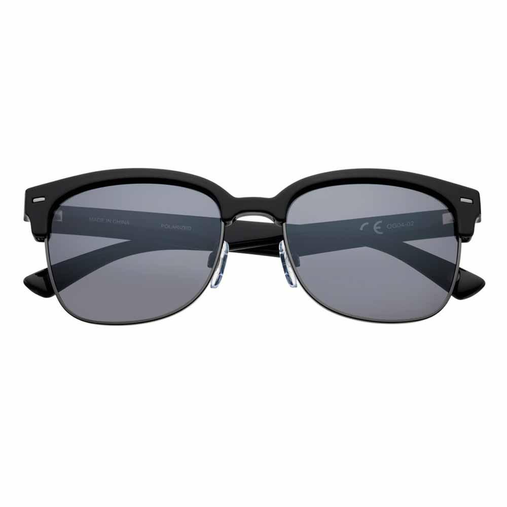 Black Polarized Semi-Rimless Sunglasses