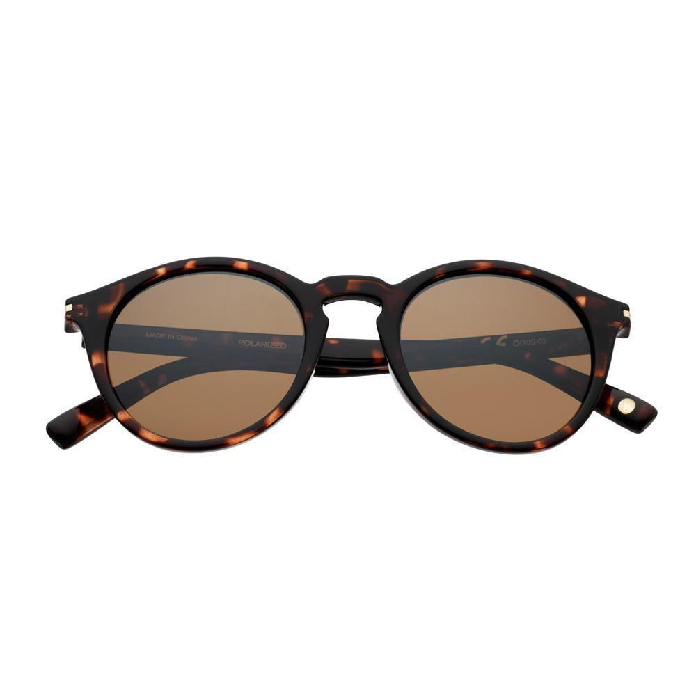 Brown Polarized Round Sunglasses