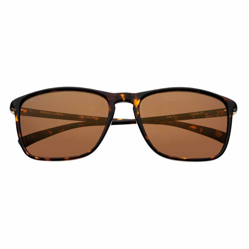 Brown Polarized Rectangular Sunglasses