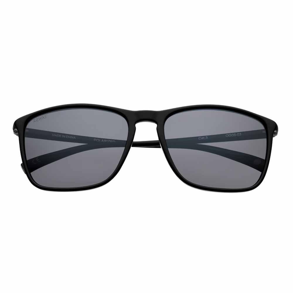 Gray Polarized Black Rectangular Sunglasses