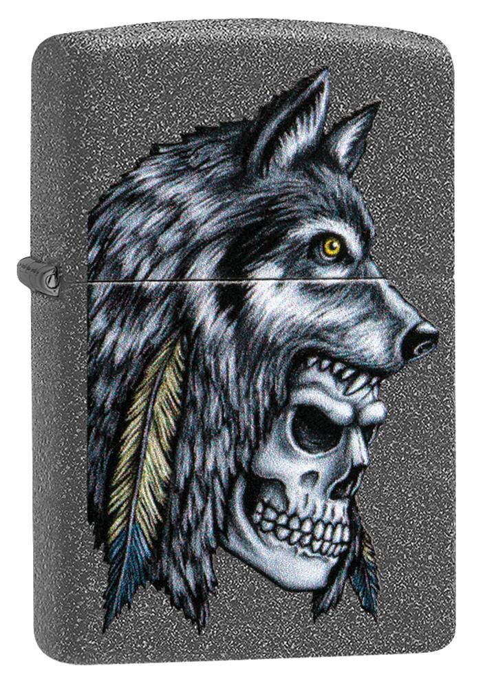 Wolf Skull Feather Design