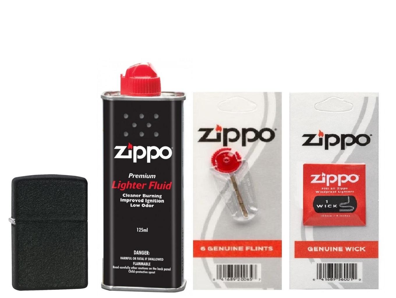Combo 4 sản phẩm : Bật lửa Zippo Black Crackle 236+Xăng+Đá+Bấc