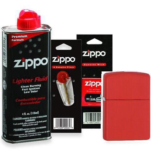 Combo 4 sản phẩm : Bật lửa Zipp Matte Red 233+Xăng+Đá+Bấc