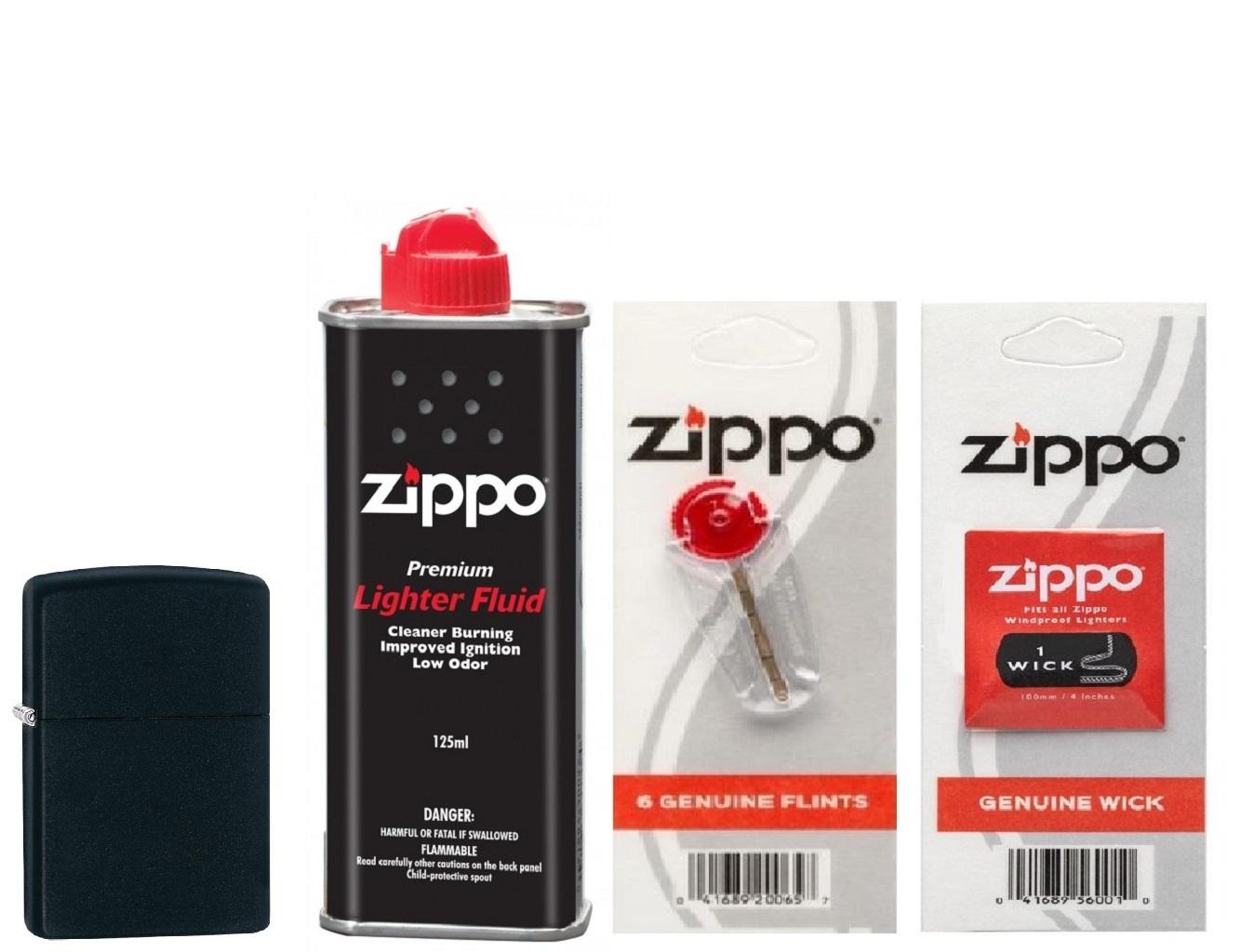Combo 4 sản phẩm : Bật lửa Zippo Black Matte 218+Xăng+Đá+Bấc