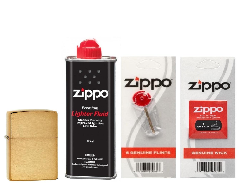 Combo 4 sản phẩm : Bật lửa Zippo Armor 168+Xăng+Đá+Bấc