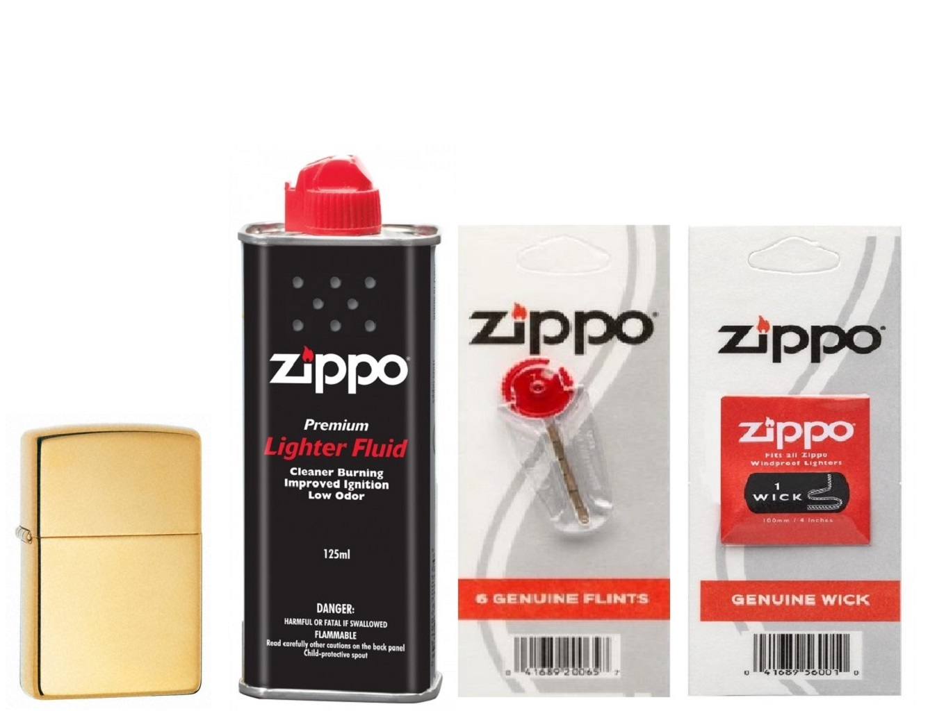 Combo 4 sản phẩm : Bật lửa Zippo High Polish Brass 254B+Xăng+Đá+Bấc