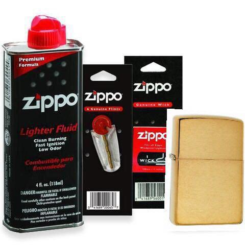 Combo 4 sản phẩm : Bật lửa Zippo Brushed Brass Solid 204B+Xăng+Đá+Bấc