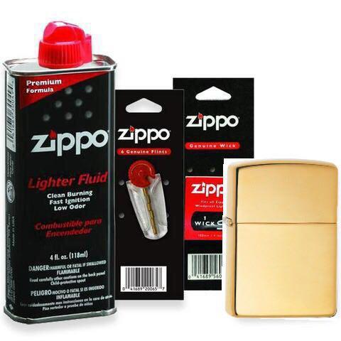 Combo 4 sản phẩm : Bật lửa Zippo Armor 169+Xăng+Đá+Bấc