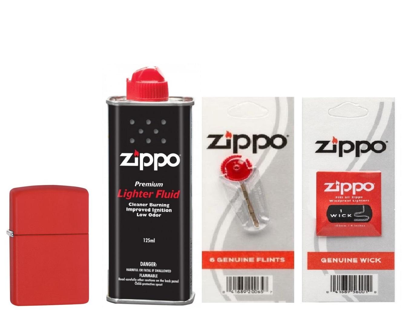 Combo 4 sản phẩm : Bật lửa Zippo Matte Red 233+Xăng+Đá+Bấc