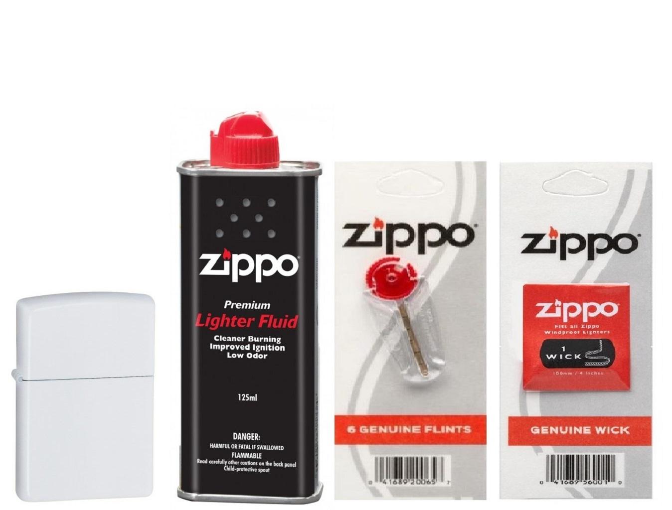 Combo 4 sản phẩm : Bật lửa Zippo White Matte 214+Xăng+Đá+Bấc