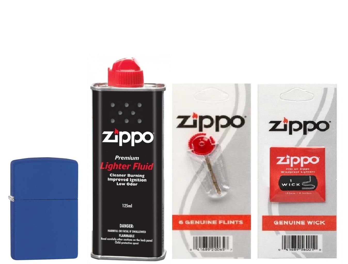 Combo 4 sản phẩm : Bật lửa Zippo Classic Royal Blue Matte 229+Xăng+Đá+Bấc