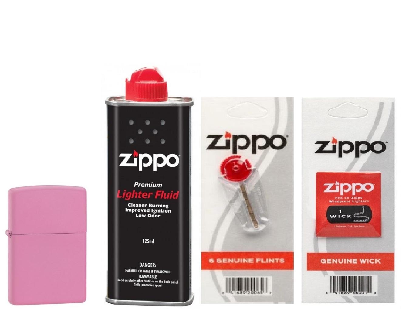 Combo 4 sản phẩm : Bật lửa Zippo Classic Matte Pink 238+Xăng+Đá+Bấc