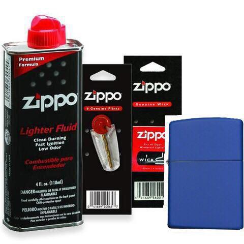 Combo 4 sản phẩm : Bật lửa Zipp Classic Royal Blue Matte 229+Xăng+Đá+Bấc